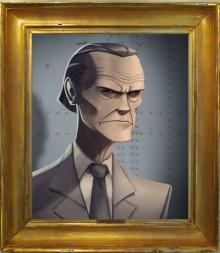 Gray Mann portrait with frame
