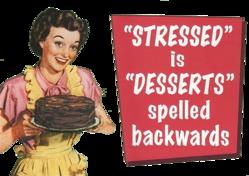 Stressed = Desserts backwards (trans. spray)