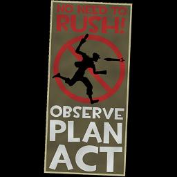 """Observe; Plan; Act"" Poster spray"