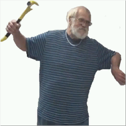 Angry Grandpa Holding Hammer (Transparent)