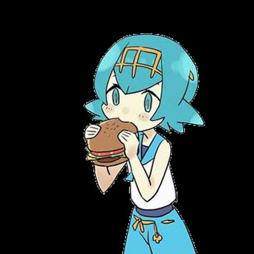Lana's eating a burger