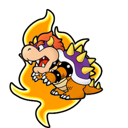 Purple paper bowser with flame