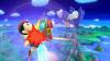 He kicks downward, creating a powerful meteor smash!