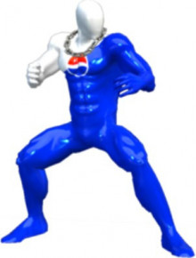 Pepsi-man over male wii fit