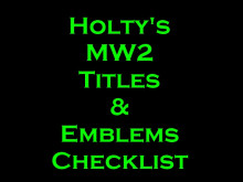Title and Emblem Checklist