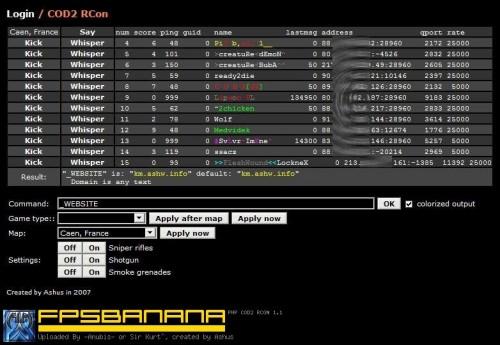 PHP COD2 RCON Tool screenshot #1