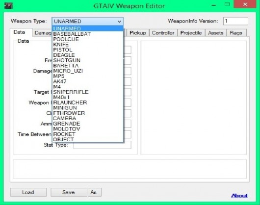 GTAIV-Weapon Data Editor