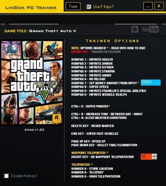 Grand Theft Auto V +23 Trainer - LinGon