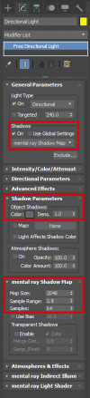 Basic shadow settings for the directional light. Your settings may vary, especially sample range.