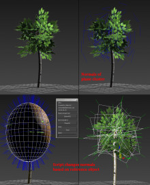 Editing vertex normals for better foliage (3dsmax) preview