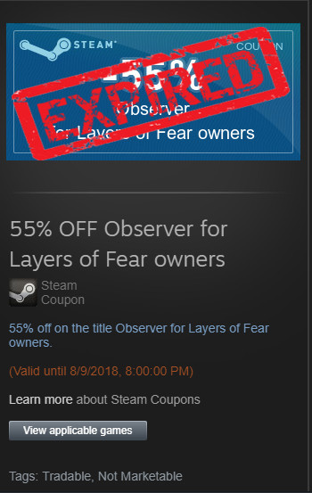 [EXPIRED] 55% OFF Observer for Layers of Fear owners
