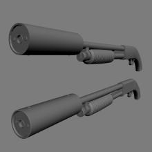 sawed off Ithaca silencer