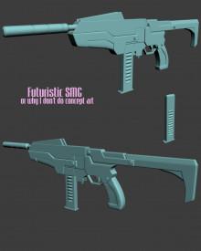 Futuristic SMG - HighPoly