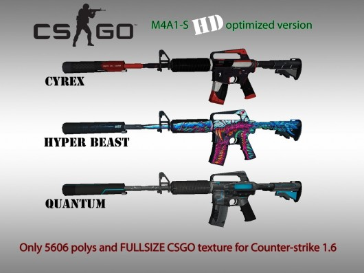 CS:GO M4A1-S HD skins for cs 1.6