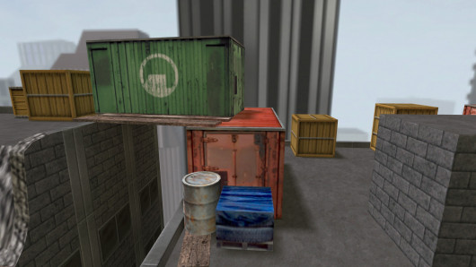 A green shipping crate will serve as cover when moving onto the other building (40%)
