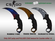 CS:GO KARAMBIT HD skins for cs 1.6 WiP preview